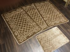 ROMANY WASHABLES NEW GYPSY SET OF 4PCS DARK BEIGE MATS NON SLIP TOURER SIZE RUGS